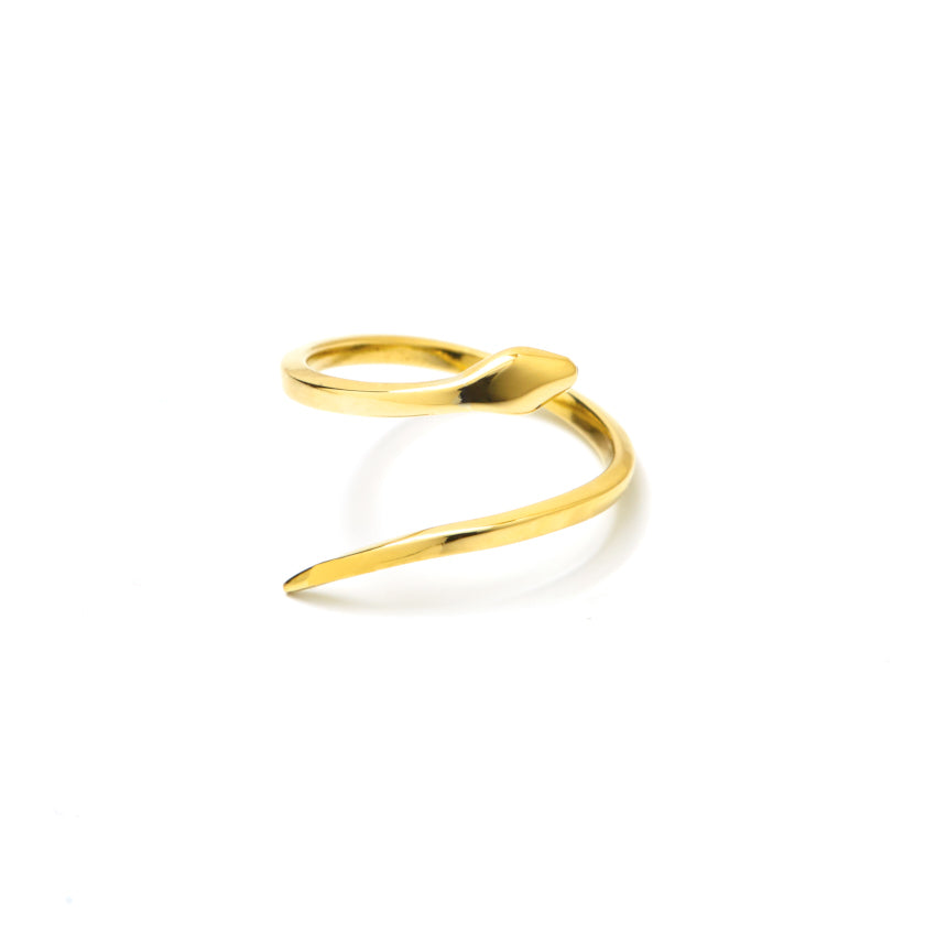 Snake Ring Gold - Slangen Ring Goud - Front