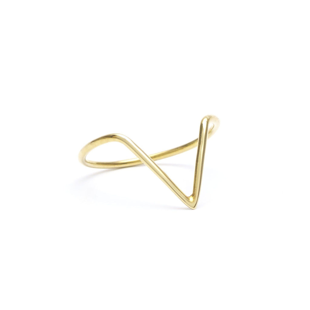 Brass jewelry handmade V ring, minimalist rings in a minimalist jewelry collection.