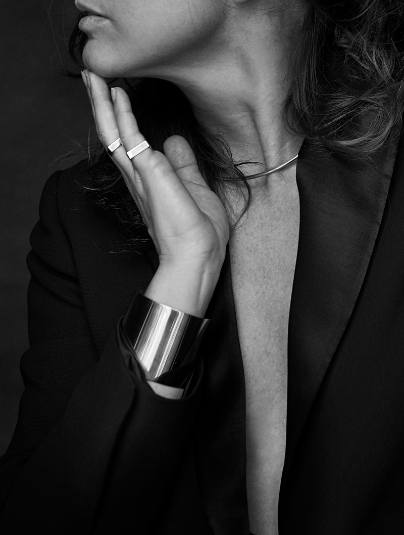 Double Bracelet worn by the Jewelry Designer in black and white.