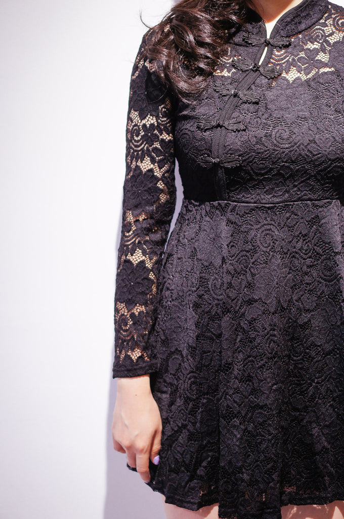 Lace Cheongsam-Black