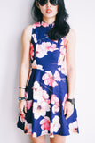 Shanghai Printed Dress-Navy Blue