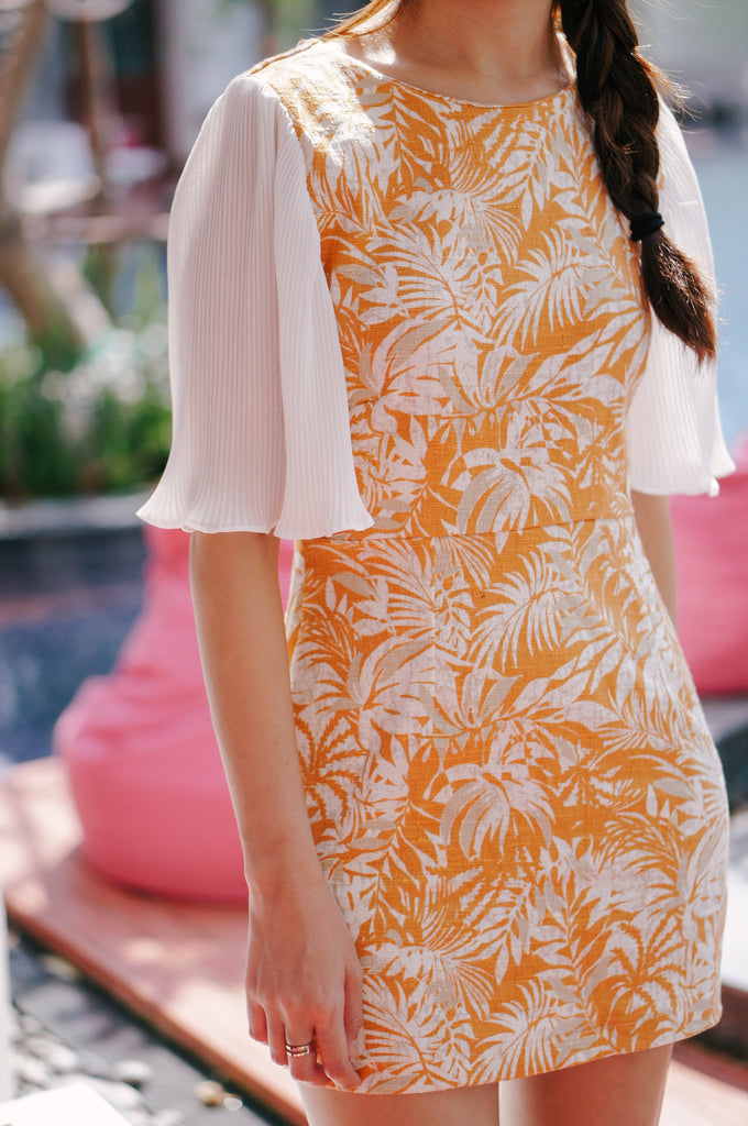 Kamaile Floral Printed Dress-Orange