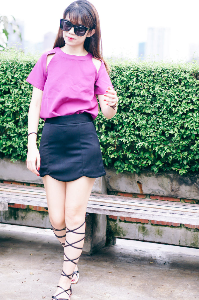 Magenta Cut Out Top