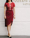 Cherelle Lace Skirt-Red