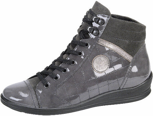 Waldlaufer womens lace up boot patent grey leather