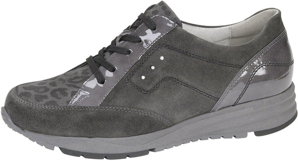 Waldlaufer shoe patent velour grey lace up