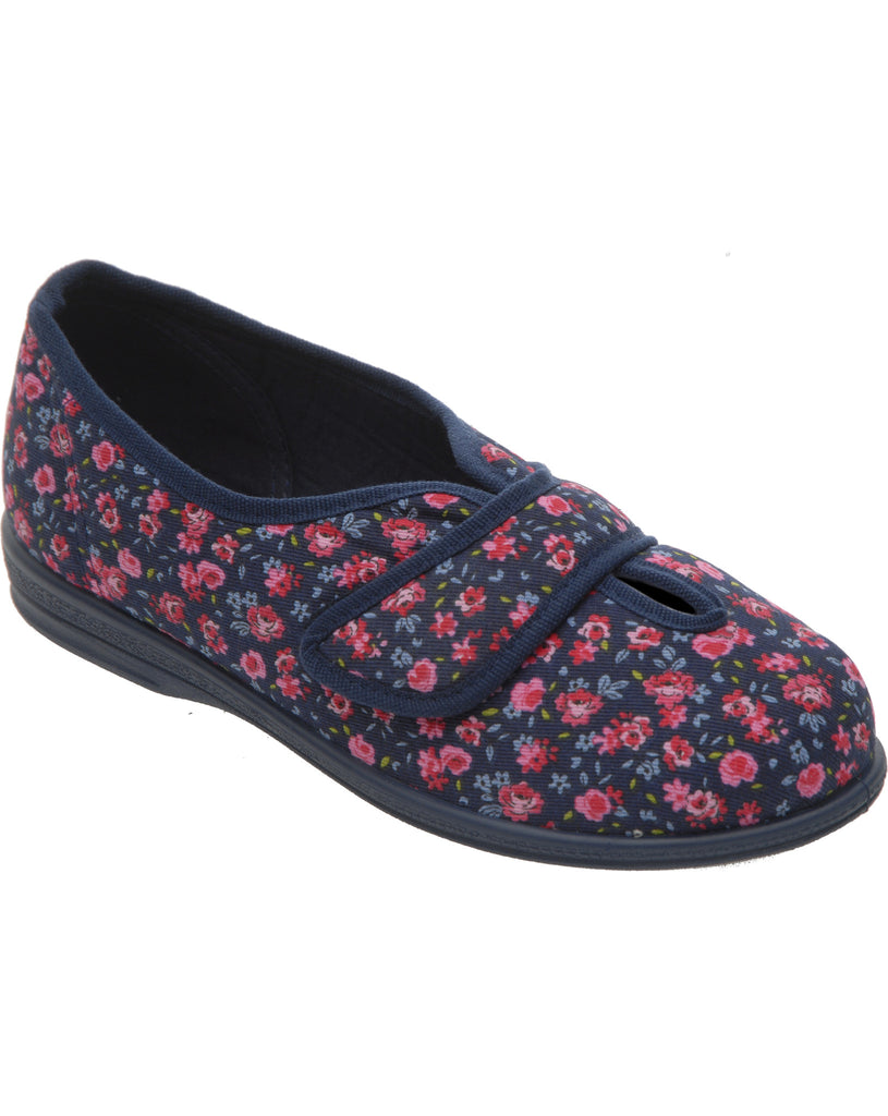 ladies cosy feet cotton mix shoe slipper 5E fit