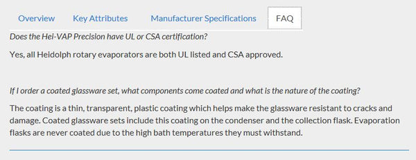 An FAQ section regarding safety coated glassware for a rotary evaporator.