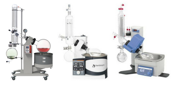 Rotary evaporators with different speeds.