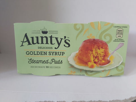 Aunty's Steamed Puds 2 pk  Golden Syrup
