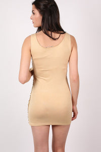 Sleeveless Sequin Front Short Tunic Dress in Gold 1
