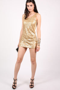 Sleeveless Sequin Front Short Tunic Dress in Gold 4