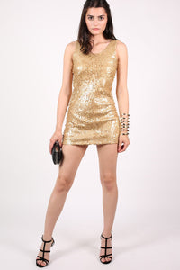 Sleeveless Sequin Front Short Tunic Dress in Gold 5