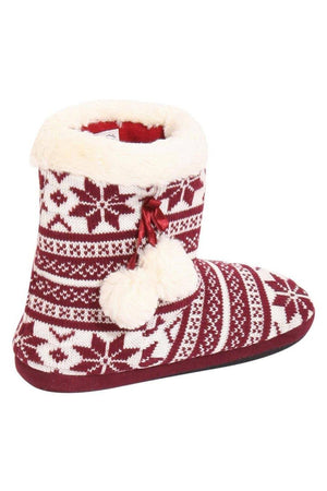 Fairisle Faux Fur Trim Slipper Boot in Red 3