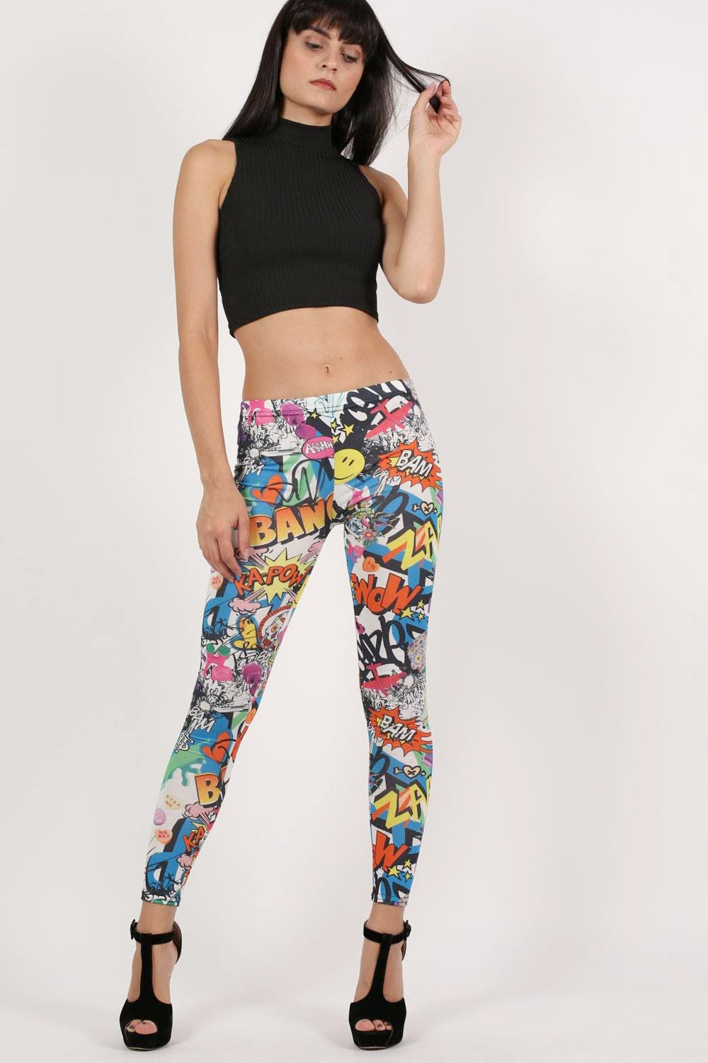 Smiley Cartoon Print Leggings in Multi Colour 0