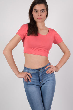 Plain Cap Sleeve Crop Top in Coral 0