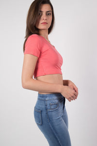 Plain Cap Sleeve Crop Top in Coral 1