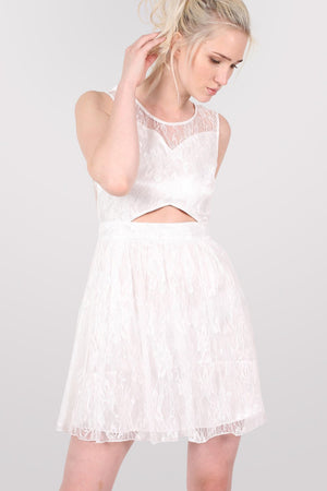 Lace Cut Out Front Skater Dress in White 0