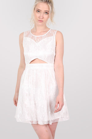 Lace Cut Out Front Skater Dress in White 1