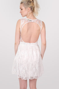 Lace Cut Out Front Skater Dress in White 3
