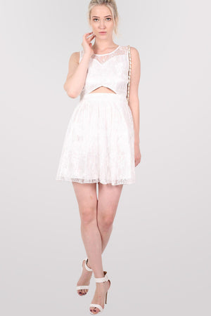 Lace Cut Out Front Skater Dress in White 4