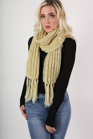 Chunky Knit Scarf in Cream 0
