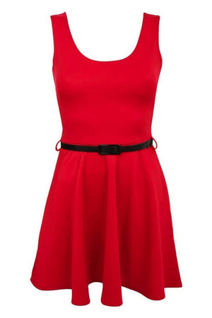 Sleeveless Belted Skater Dress in Red 2