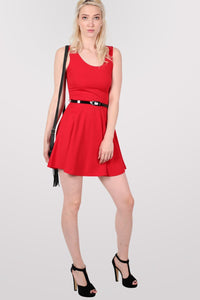 Sleeveless Belted Skater Dress in Red 4