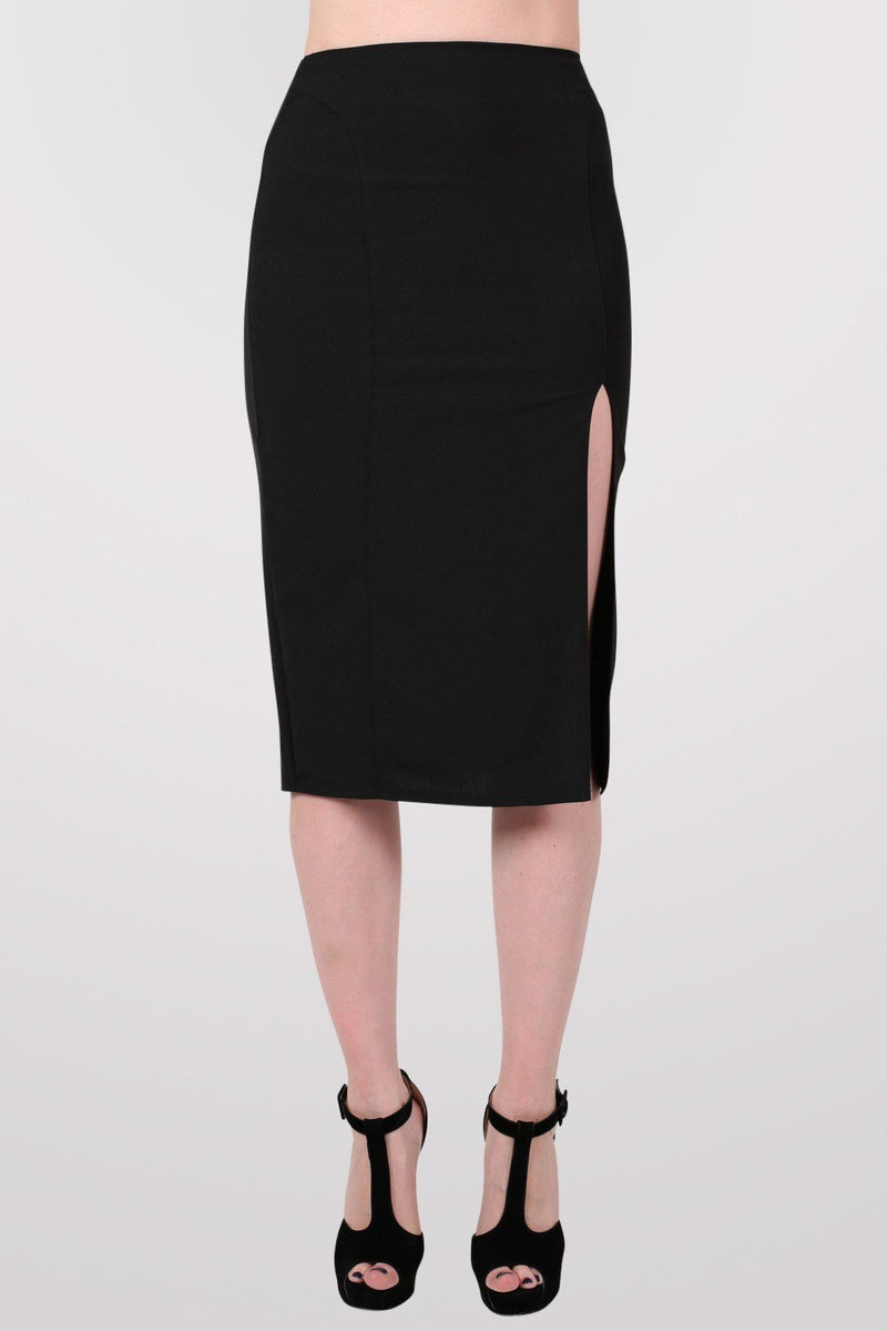 Front Split Pencil Skirt in Black 1