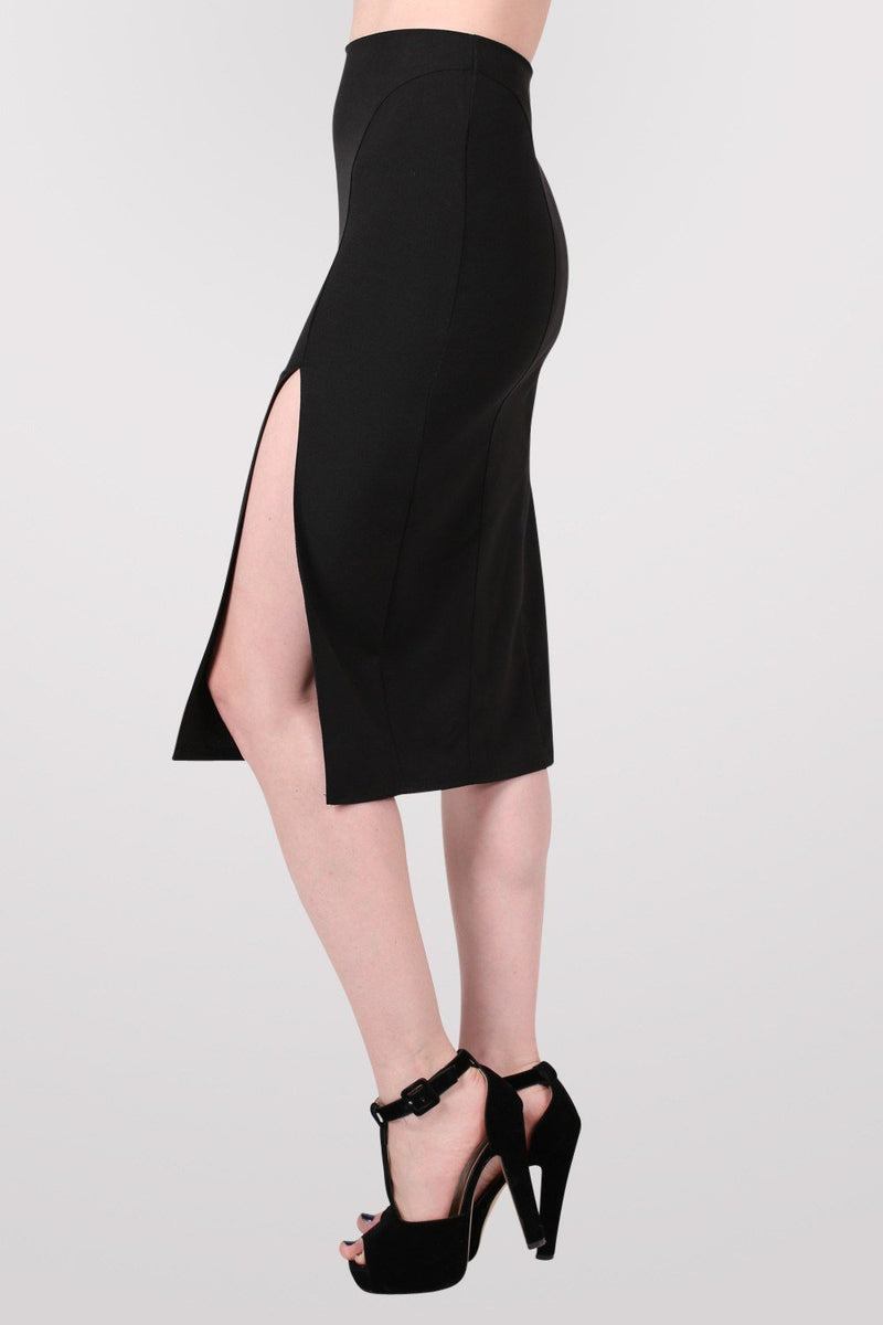 Front Split Pencil Skirt in Black 3