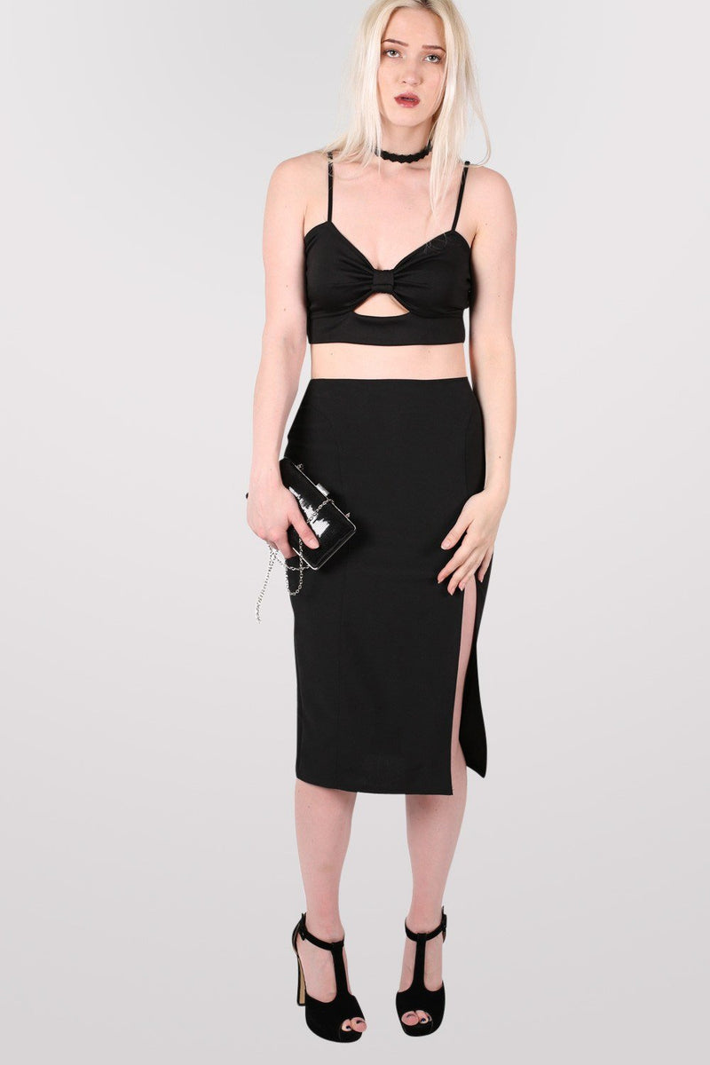 Front Split Pencil Skirt in Black 5