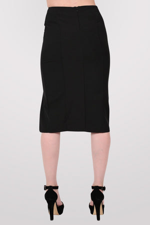 Front Split Pencil Skirt in Black 4