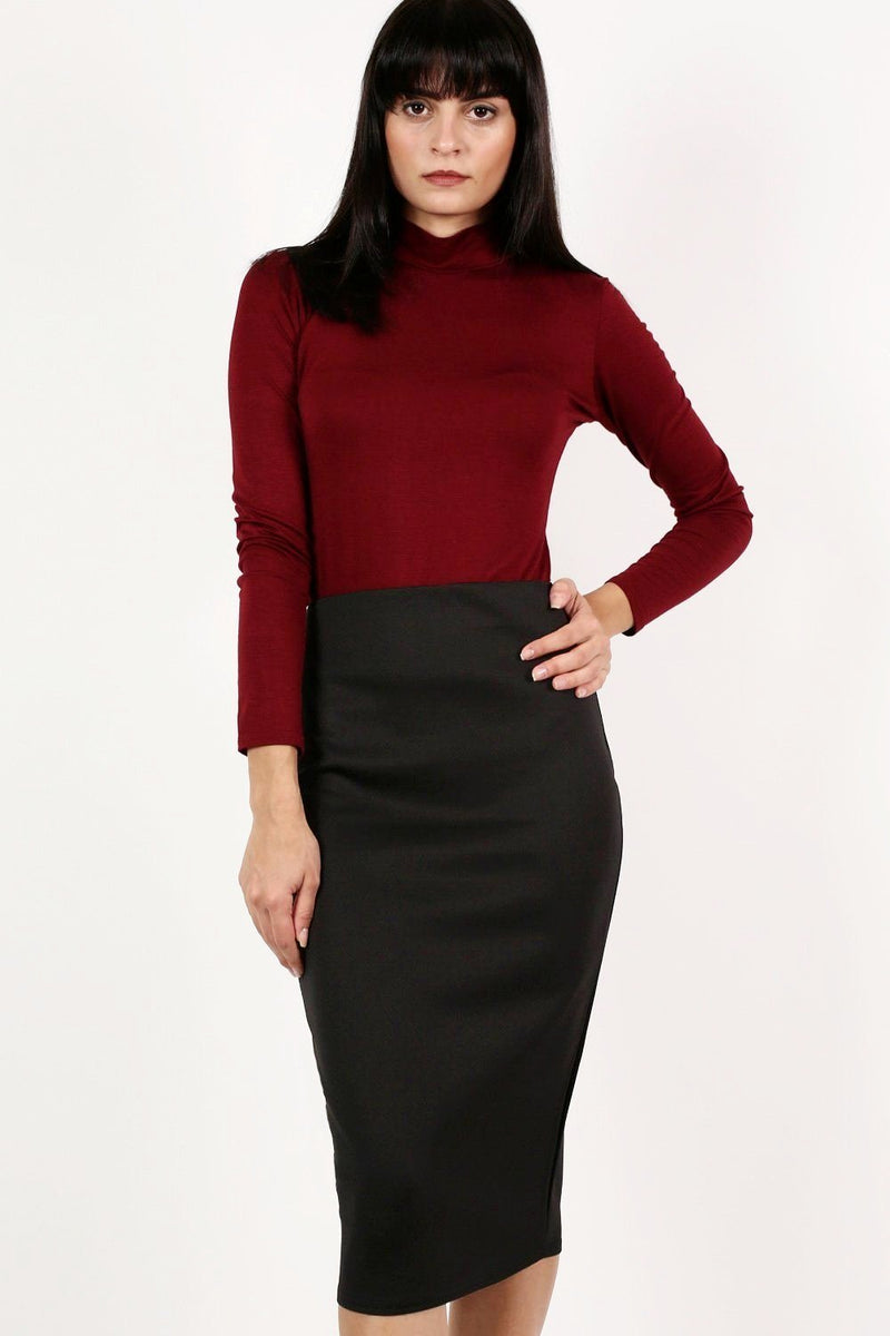 Pencil Tube Skirt in Black 0