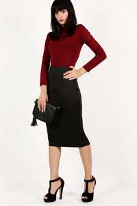 Pencil Tube Skirt in Black 4