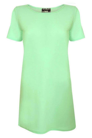 Cap Sleeve Plain Shift Dress in Mint Green 2