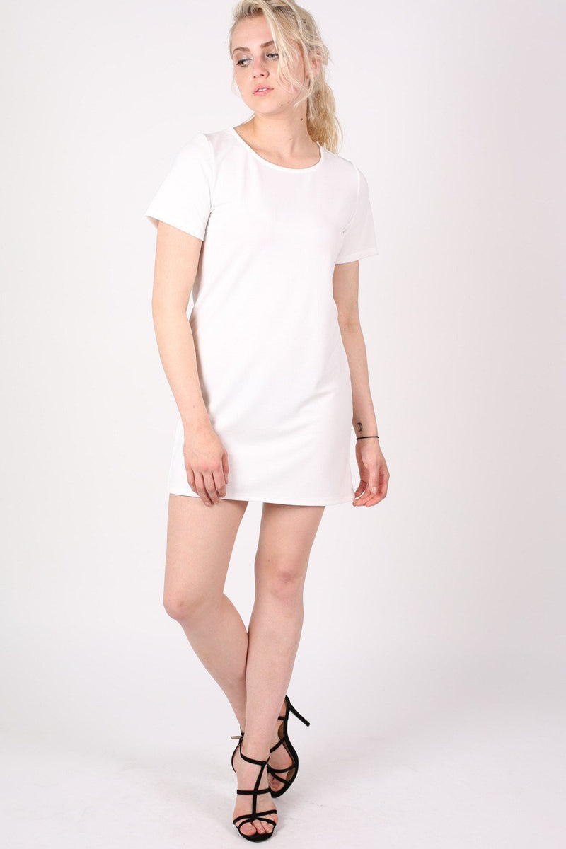 Cap Sleeve Plain Shift Dress in Cream 4