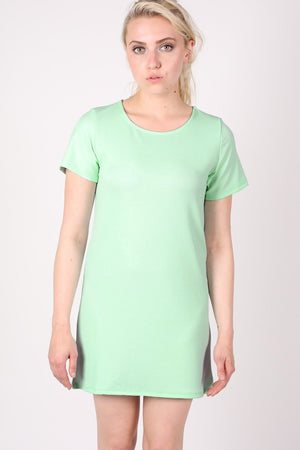 Cap Sleeve Plain Shift Dress in Mint Green 0