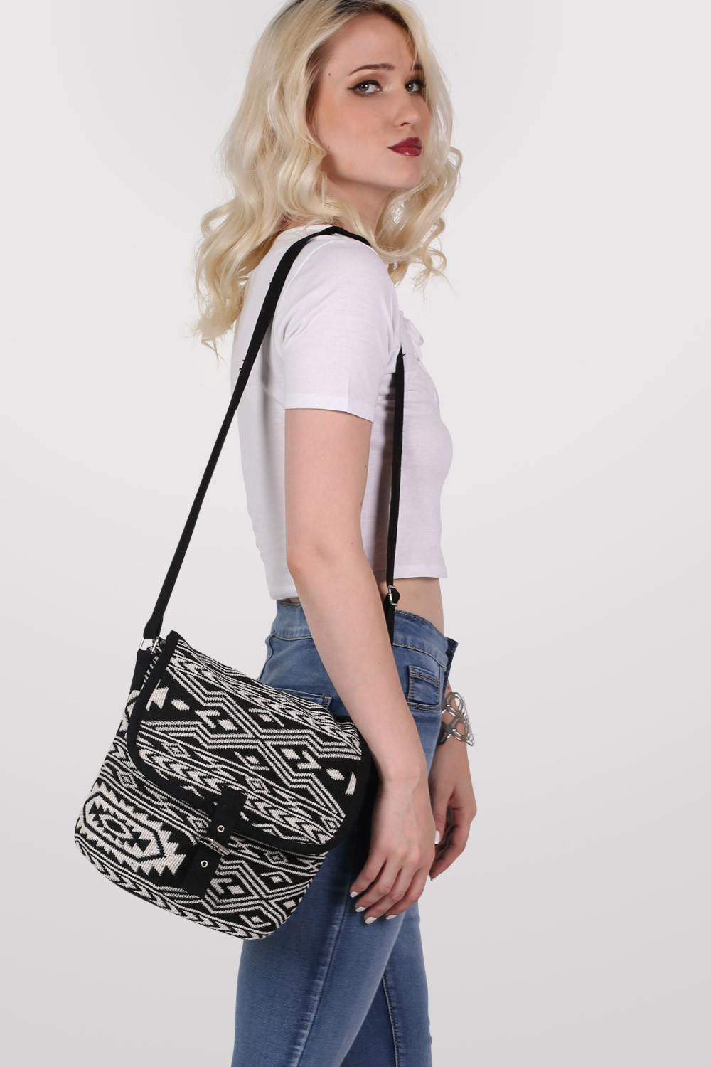 Tribal Cross Body Messenger Bag in Black 0