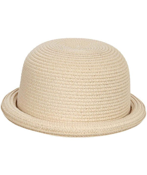 Roll Up Straw Bowler Hat in Wheat 2
