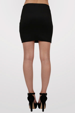 Plain Bodycon Mini Skirt in Black 4
