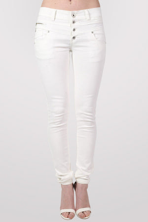 4 Button Skinny Jeans in White 1