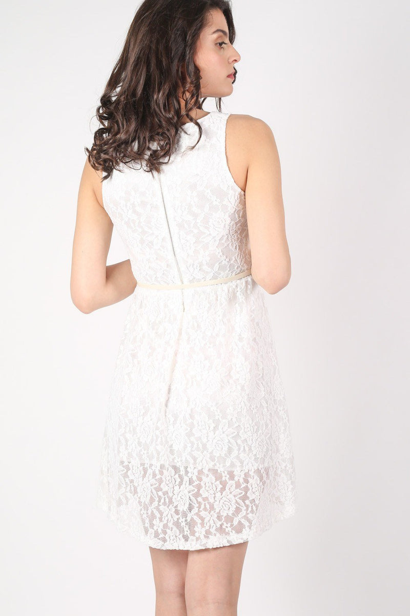 Floaty Lace Sleeveless Skater Dress With Belt in Cream 4