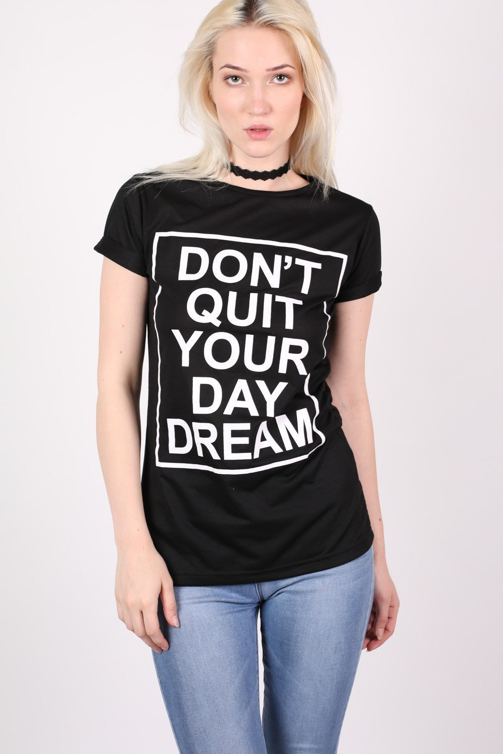 Day Dream Slogan T-Shirt in Black 0