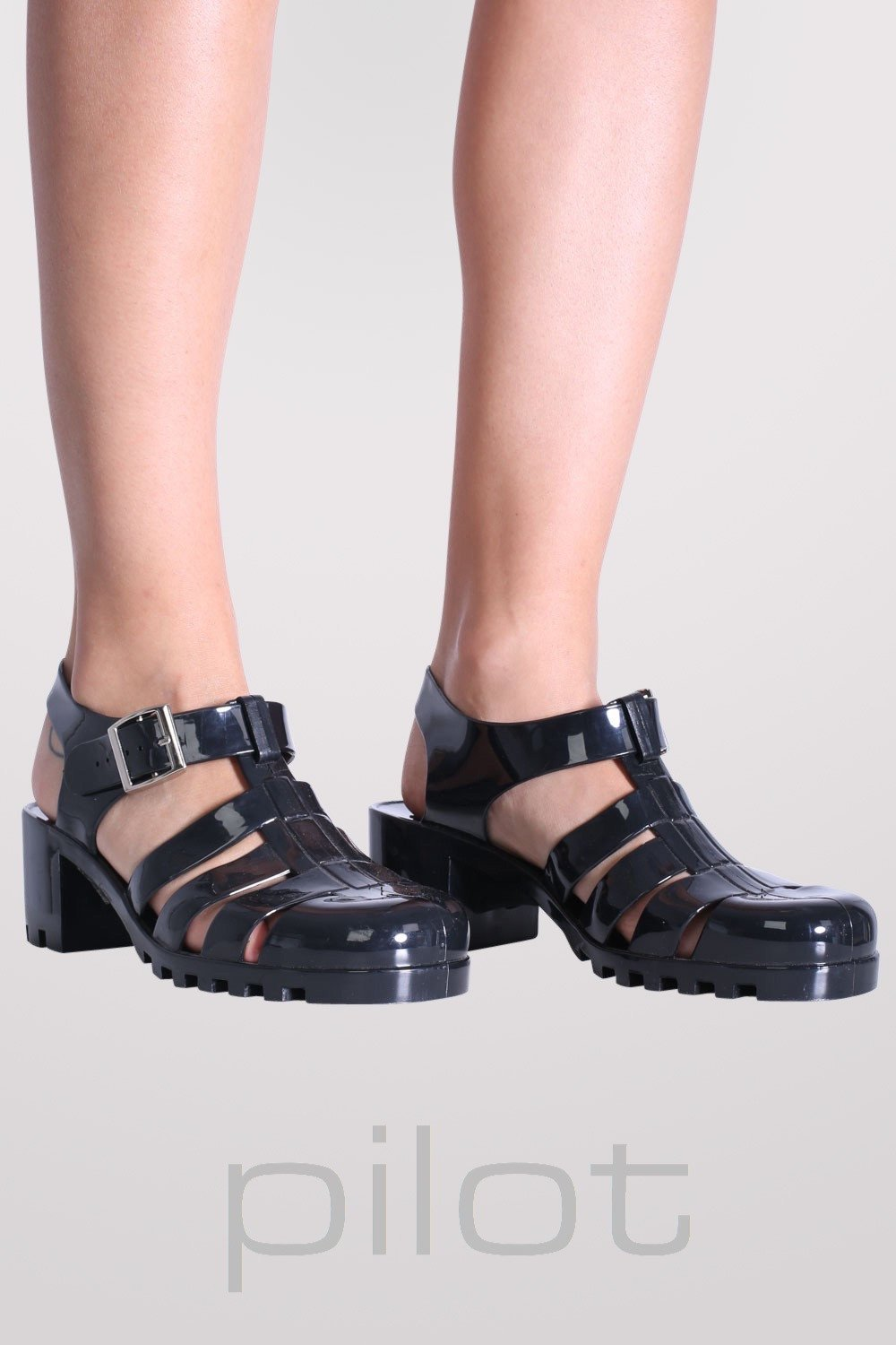 Block Heel Jelly Sandals in Black 0