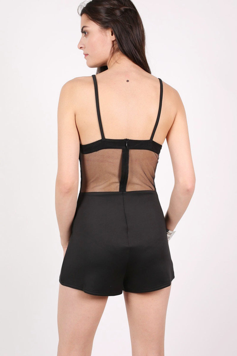 Strappy Lace Detail Playsuit in Black 2