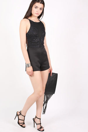 Strappy Lace Detail Playsuit in Black 4
