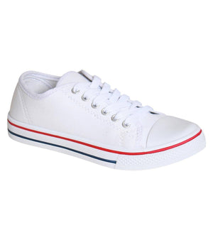 Canvas Lace Up Trainers in White 2