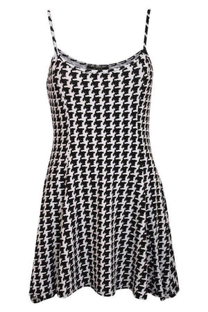 Strappy Dog Tooth Print Swing Dress in Black 2