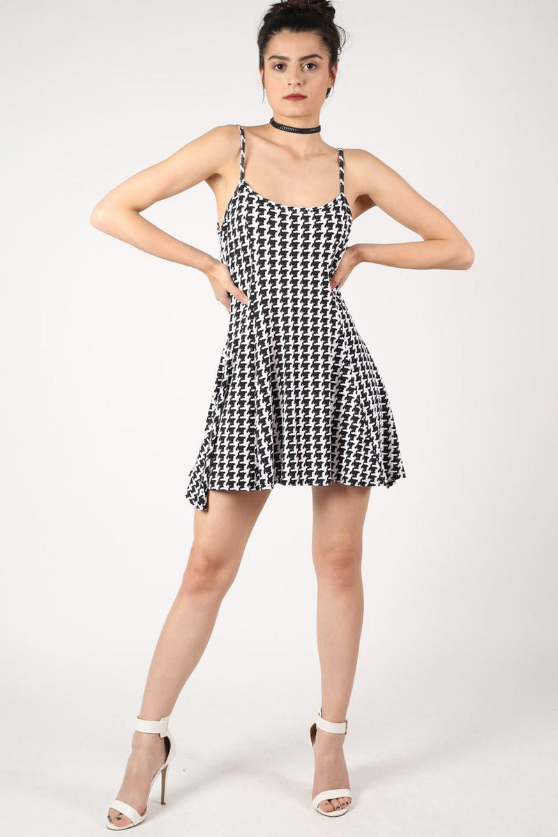 Strappy Dog Tooth Print Swing Dress in Black 4