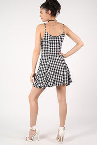 Strappy Dog Tooth Print Swing Dress in Black 5
